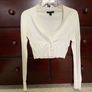 Ivory/Cream Express Cropped Cardigan Sweater S